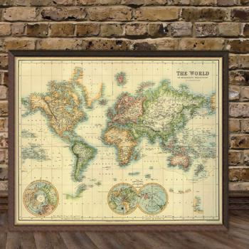 Art Print Vintage Retro The World Map Paper Poster Large - €50.00